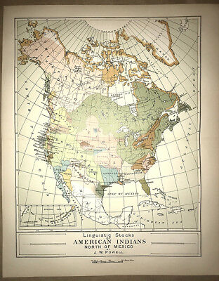 """MAP OF """"LINGUISTIC STOCKS OF AMERICAN INDIANS"""". 1897. J. W. Powell"""