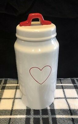 Rae Dunn NEW Tall Heart Valentines Day Canister White/Red
