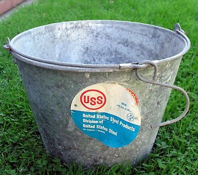 Vintage USS United States Steel 16 Quart Galvanized Hanging Fruit Bucket Pale -A