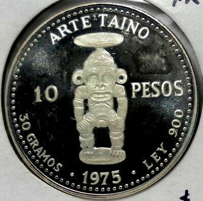 1975 Dominican Republic 10 Pesos Silver Proof Mintage 5.000 Only