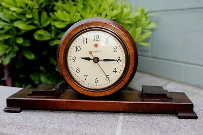 "VINTAGE ~General Electric ""Puritan"" Mahogany Mantle Clock Model AB3F02 ~ WORKING"