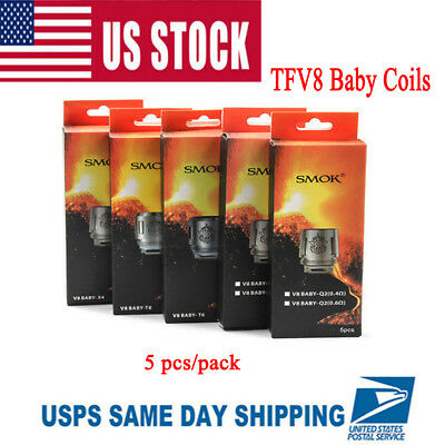 5x SMOK TFV8 Baby Coil Head Cloud Beast Replacement for V8 Baby T8 Q2 T6 X4 USA