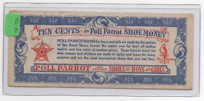 Undated Poll Parrot Shoe Money. Ten Cents. Shoes for Boys and Girls.      #TF-72