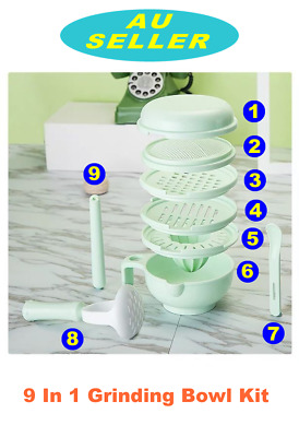 10 IN 1 Baby Grinding Bowl Handmade Grinding Tool Food Fruit Supplement Mill Kit