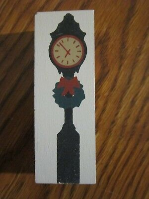 Street Clock Reversible Accessory Piece Cat's Meow Village Wood Nev Dsplyd