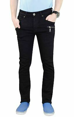 Mens Skinny Jeans Black Denim Casual 7 Pockets Slim Fit Stretch Trouser Pants UK
