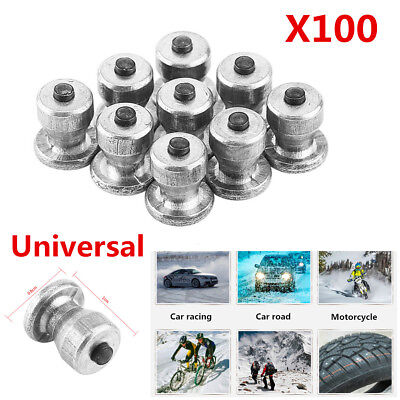 100pc 8mm Car SUV Tires Studs Screw Metal Snow Spikes Wheel Tyre Anti-Slip Chain