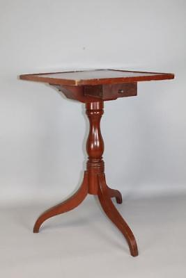 A Rare Late 18Th C Ct Country Candlestand With Drawer Tray Top And Old Red Paint