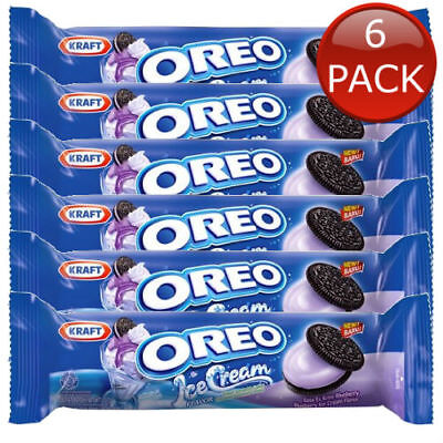 6 x OREO BLUEBERRY ICE CREAM FLAVOUR BISCUITS SNACK COOKIES KIDS KRAFT 29.4g