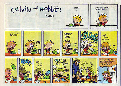 Calvin and Hobbes by Bill Watterson - color Sunday comic page, December 4, 1994
