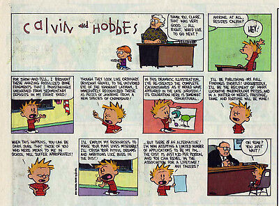 Calvin and Hobbes by Bill Watterson - color Sunday comic page, December 11, 1994