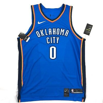 newest 0c674 685a2 NIKE OKC THUNDER Russell Westbrook Icon Authentic Jersey Blue White Men's 58