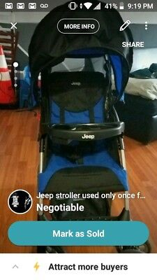 J is for Jeep North Star Stroller - Black / Baby Blue