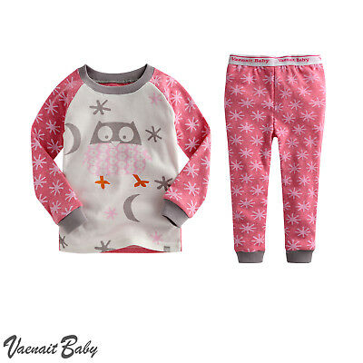"Vaenait Baby Toddler Kids Boys Clothes Pajamas Set ""Snow Owl Pink"" S(2T)"