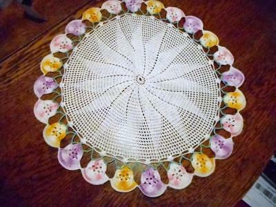 """2  Vintage 17"""" Pansy Doilies  Hand Made Large 17""""  White   Pastel Colored Pansy"""