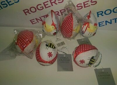 6 Gisela Graham Retro Fabric Hanging Easter Egg Decorations Bee Chick NEW w Tags