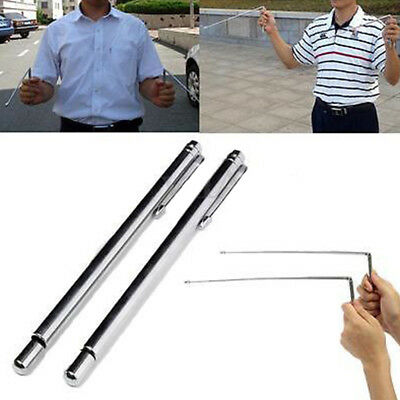 BL_ 2pc Sliver Brass Dowsing Divining Rods Water Witching Stick Lost Detector Ra