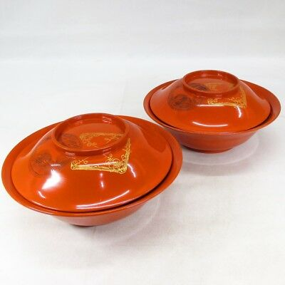 B631: Japanese old lacquer ware pair of biggish covered bowl with CHINKIN work