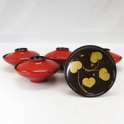 B634: Japanese old lacquer ware five covered bowls with MAKIE of hollyhock