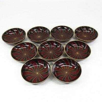 B635: Japanese old lacquered 9 plates MEIMEI-ZARA with twisted pattern