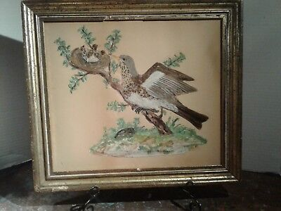 Antique Art Picture Of Bird With A Nest, Made With Real Feathers