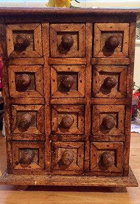 Interesting Vintage Bank Of Drawers, With 12 Small Wooden Drawers