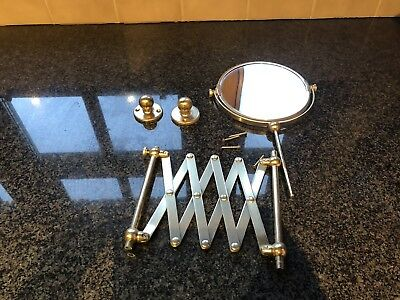 Brass Extending Wall Mounted Make Up Shaving Bathroom Mirror, Heavy, Quality