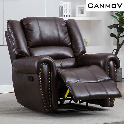 Recliner Chair  Breathable Bonded Leather Sofa  Manual Recliner Chair - Brown