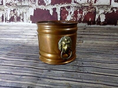 Vintage Nestor Copper Jardiniere Plant Pot Planter Brass Lion Head Bucket Prop