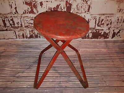 Vintage Industrial Small Metal Folding Stool Seat Side Lamp Table Plant Stand