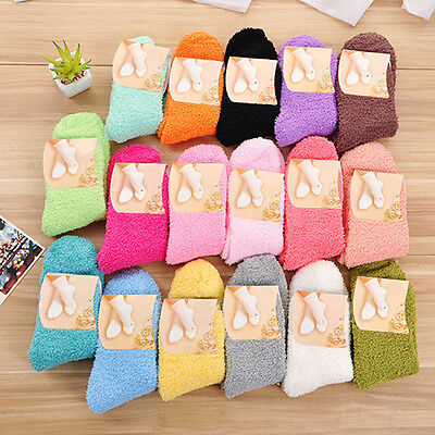 BL_ Women Girl Winter Warm Thicken Coral Fleece Sleep Bed Solid Color Socks Nove