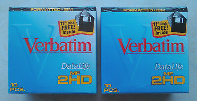 """Two boxes NEW SEALED Verbatim 3.5"""" floppy disks 2HD in boxes of 11 diskettes"""