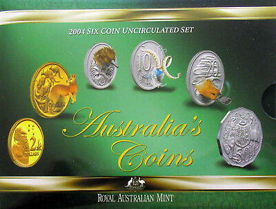 Royal Australian Mint 2004 Six Coin Set Uncirculated Postcard Style Book
