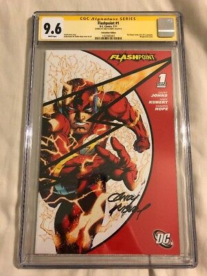 FLASHPOINT #1 SDCC VARIANT CGC SS 9.6 Signed Andy Kubert Flash CW White Pages