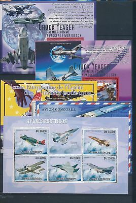 AB7-2309 World aviation aircraft airplanes fine lot of sheets MNH