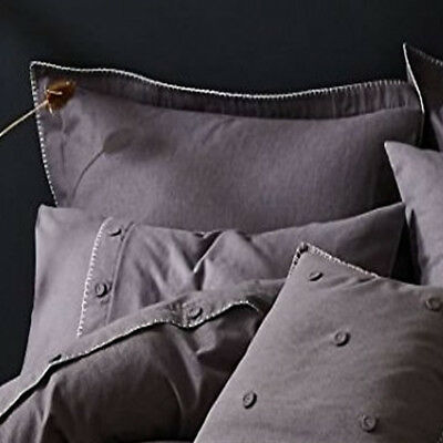 Grey Blanket Stitch Oxford Pair of Pillowcases x 20 - Ideal for Hotels B&Bs