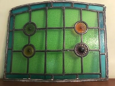Antique Stained Glass Leaded Panel