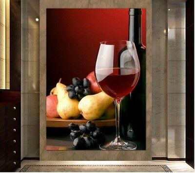 Wine Grapes and Fruits Paintings Wall Art Canvas Print Home Decor 1Pcs