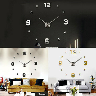 3D Large Wall Clock Frameless Mirror Number Sticker Modern DIY Art Decal Decor