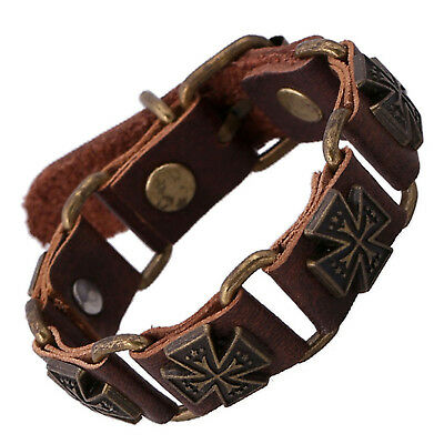 Fashion Women Men Punk Leather Bangle Alloy Wristband Cuff Bracelet Jewelry
