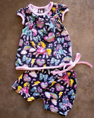 Six Bunnies Unicorns Short Pyjama Set Top & Bottoms Cute MLP Adorable Baby Gift