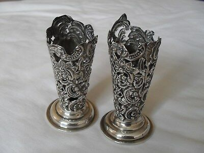 Pair of antique art nouveau solid silver vases hallmarked London 1900/1901