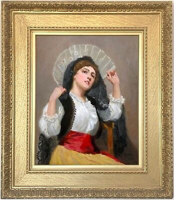 A Young Beauty Antique Oil Painting by Ralph Hedley R.B.A. (1848-1913)