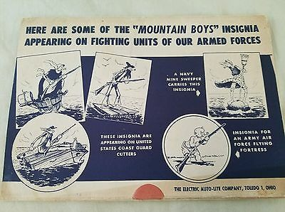 Vintage The MOUNTAIN BOYS Insignia PinUps by P. Webb from AUTO-LITE Spark Plug