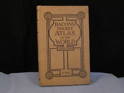 Gw Bacons Pocket Atlas Of The World Book Colour Illustrated Maps Population