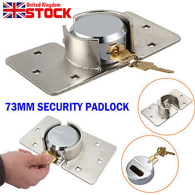 73Mm Van Lock Garden Shed Security Padlock And Hasp Set Chrome Plated Uk