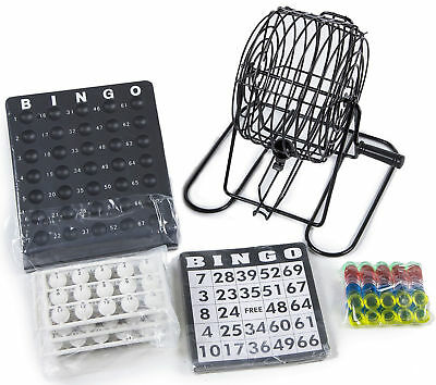 Traditional Bingo Lotto Lottery Family Game Set Cage Balls Cards Counter Gifts