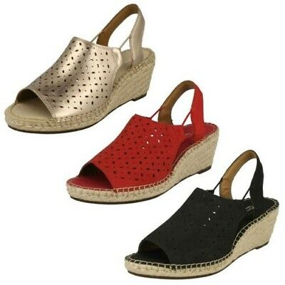 34cad9793765 Ladies Clarks Leather Nubuck Slingback Wedge Heel Sandals - Petrina Gail