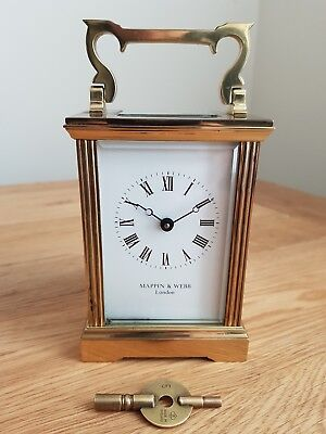 Mappin & Webb Brass Carriage Mantel Clock With Key Working Order