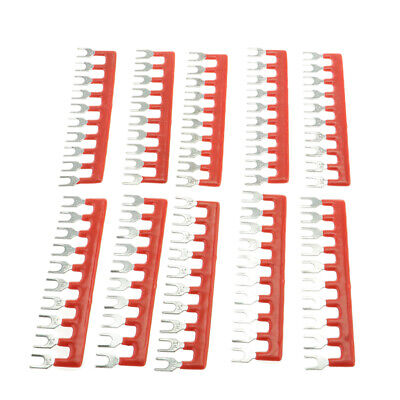 10pcs Fork Shape 10 Positions Barrier Terminal Block Strip